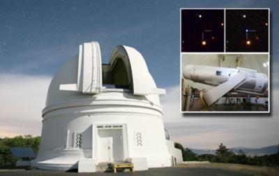 Das 1,2-Meter Samuel Oschin Telescope am Palomar Observatorium (Caltech / Scott Kardel / Robert Quimby / modified from Nature)