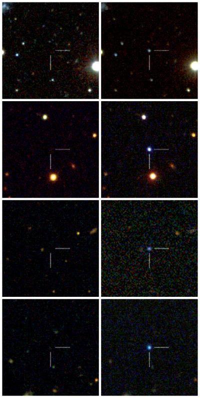 Die vier von der Palomar Transient Factory entdeckten Supernovae: Links - vor der Explosion, rechts - nach der Explosion. Von oben nach unten: PTF09atu, PTF09cnd, PTF09cwl und PTF10cwr. (Caltech / Robert Quimby / Nature)