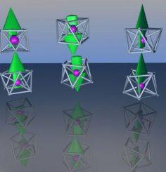 Eine mögliche Anordnung des FeMg8 magnetischen Superatoms, bei der die Richtung der magnetischen Momente durch Pfeile angezeigt werden. (Image courtesy of Victor Medel/VCU)