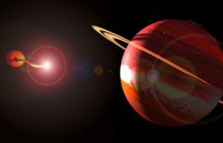 Künstlerische Darstellung des Sternsystems UZ Fornax (SAAO)