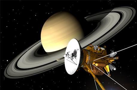 Künstlerische Darstellung der Raumsonde Cassini vor Saturn (NASA)