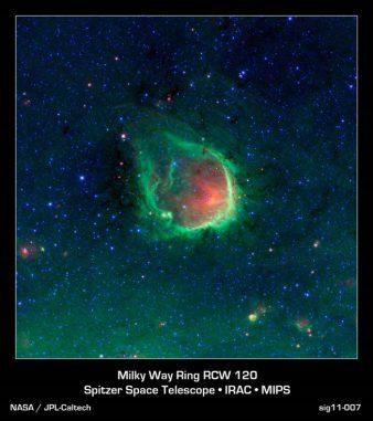 Emissionsnebel RCW 120 (NASA / JPL-Caltech / GLIMPSE-MIPSGAL Teams)