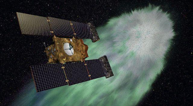 Künstlerische Darstellung der Raumsonde Stardust (NASA/JPL-Caltech)