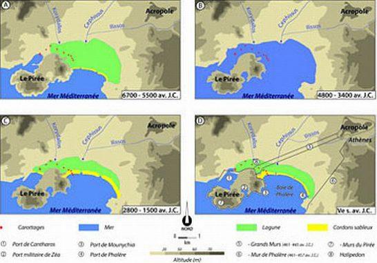 Entwicklung der Küstenlandschaft zwischen Athen und Piräus (Julien Cavero CNRS / Université Lyon 2)