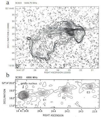 Schematische Darstellung der Galaxie 3C303 im Radiowellenbereich, basierend auf Daten des Very Large Array (P. Kronberg)
