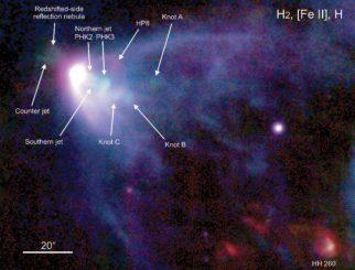 Falschfarbenaufnahme der Region um den Protostern L1551 (Hyashi and Pyo)