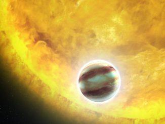 Künstlerische Darstellung des Hot Jupiter HAT-P-7b (NASA, ESA, and G. Bacon (STScI))