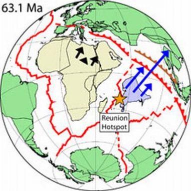 Rekonstruktion des Indo-Atlantischen Ozeans vor 63 Millionen Jahren als die Bewegung Indiens schneller wurde (Scripps Institution)