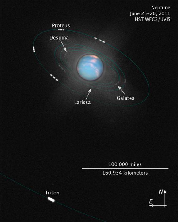 Ein Kompositbild aus mehreren Hubble Aufnahmen. 48 Einzelaufnahmen enthüllen neben den Wolkenformationen auch die sehr lichtschwachen Monde, die den Planeten als winzige helle Punkte umkreisen. Die grünen Linien veranschaulichen die Umlaufbahnen der Monde. (NASA, ESA and Z. Levay (STScI))