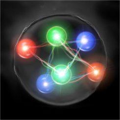 Künstlerische Darstellung eines gebundenen H Dibaryons, theoretisch bestehend aus zwei Up-, zwei Down-, und zwei Strange-Quarks (Copyright 2011, Keiko Murano)