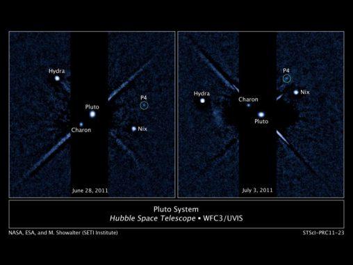 Zwei beschriftete Bilder des Plutosystems, aufgenommen von der Wide Field Camera 3 des Hubble Space Telescope (NASA, ESA, and M. Showalter (SETI institute))
