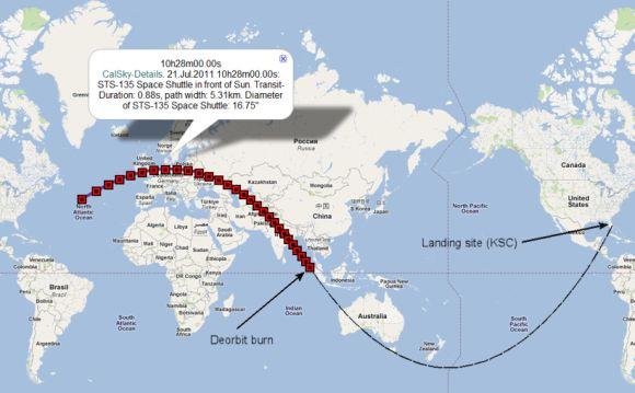 Schematische Darstellung vom Kurs der Atlantis bei ihrer Rückkehr zur Erde. De-Orbit Burn ist der Punkt, an dem sie die Triebwerke zündet.