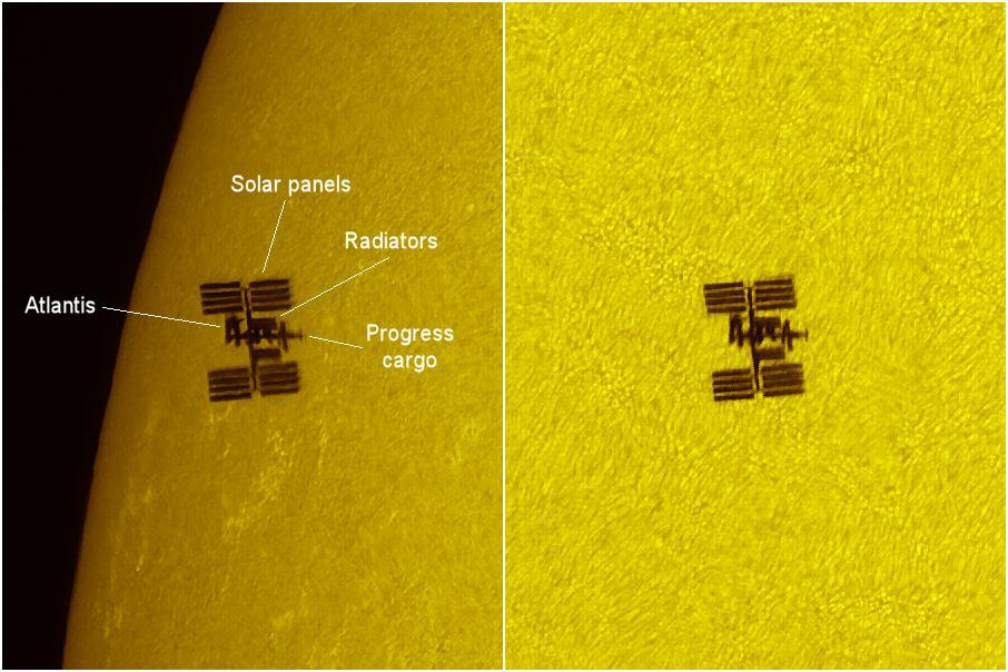 Die ISS und die Atlantis vor der Sonnenscheibe (links von der Bildmitte über dem auffälligen Sonnenfleck) Beobachtungsstandort: Caen / Frankreich (Thierry Legault)