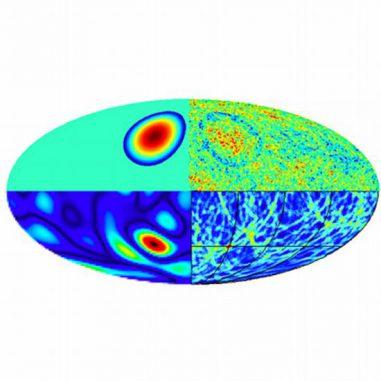Die Signaturen einer Blasenkollision an verschiedenen Zeitpunkten. Eine Kollision (oben links) erzeugt eine Temperaturänderung in der kosmischen Hintergrundstrahlung (oben rechts) (UCL)