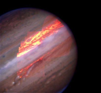 Infrarotbild Jupiters. (Mike Wong, Franck Marchis & W.M. Keck Observatory)