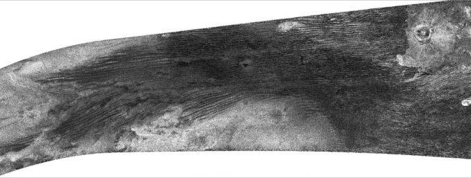 Auf dem Radarbild von Titans Oberfläche sind Dünen, ein Krater und ein Teil der Oberflächenformation Xanadu sichtbar. (NASA / JPL)