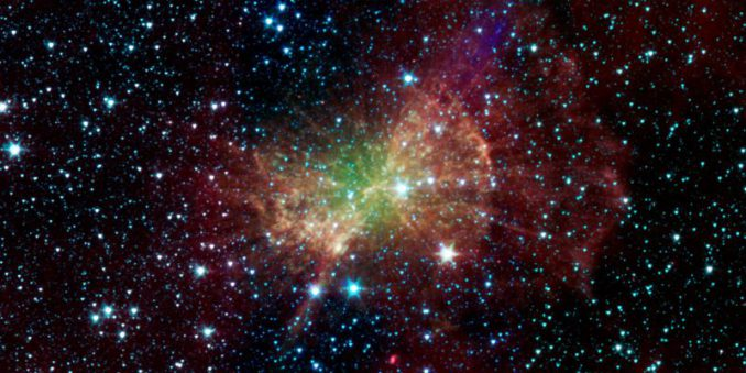 Der Hantelnebel, fotografiert vom Spitzer Weltraumteleskop (NASA / JPL-Caltech / Harvard-Smithsonian CfA)