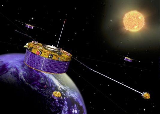 Künstlerische Darstellung des Cluster-Quartetts (NASA)