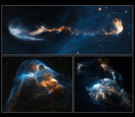 Die Herbig-Haro-Objekte HH 47 (oben), HH 2 (unten rechts) und HH 34 (unten links). (NASA, ESA, and P. Hartigan (Rice University))