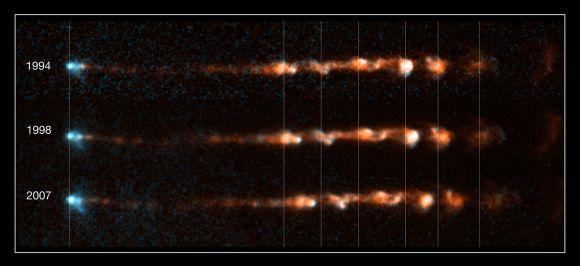 Diese drei Aufnahmen zeigen die zeitlichen Veränderungen des Herbig-Haro-Objektes HH 34 (NASA, ESA, and P. Hartigan (Rice University))