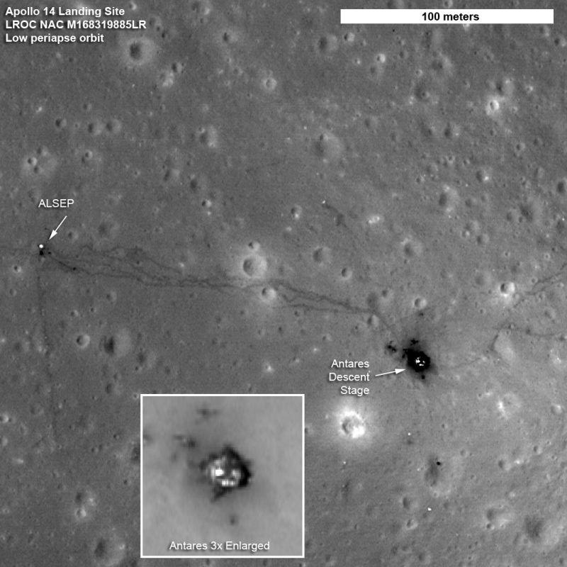 Die Spuren der Astronauten Alan Shepard und Edgar Mitchell von der Apollo-14-Mission sind klar erkennbar. (NASA's Goddard Space Flight Center/ASU)