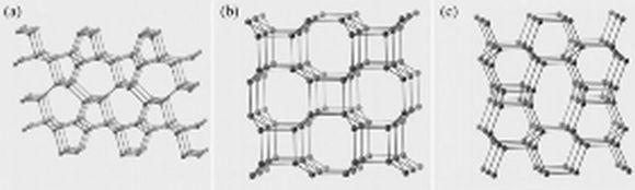 Drei Beispiele für superharte Strukturen, die bei den Berechnungen gefunden wurden (Stony Brooks University)