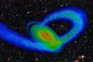 Computermodell der Milchstraße und ihres kleinen Nachbarn, der Sagittarius-Zwerggalaxie (Image by Tollerud, Purcell and Bullock / UC Irvine)
