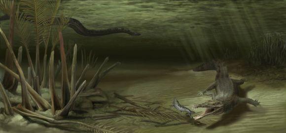 Künstlerische Darstellung von Acherontisuchus guajiraensis in seinem natürlichen Lebensraum (Illustration by Danielle Byerley, Florida Museum of Natural History)