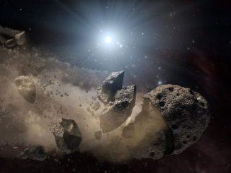 Künstlerische Darstellung einer Asteroidenkollision mit darauf folgendem Auseinanderbrechen des Körpers (NASA / JPL-Caltech)