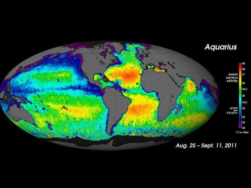 Karte vom Salzgehalt der Weltmeere, erstellt auf Basis der neuen Aquarius-Daten (NASA / GSFC / JPL-Caltech)
