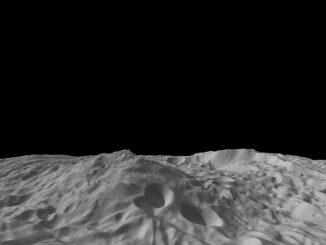 Dieses computergenerierte Bild zeigt die Südpolarregion Vestas mit dem Gipfel des Südpolarberges (NASA / JPL-Caltech / UCLA / MPS / DLR / IDA / PSI)