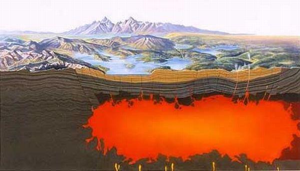 Querschnitt durch den Hotspot des Yellowstone-Supervulkans (USGS)