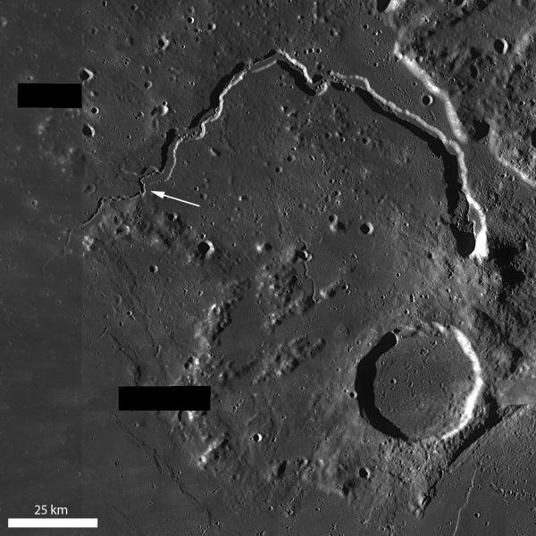 Vallis Schröteri ist eine bogenförmige Rille auf dem Mond (NASA / GSFC / Arizona State University)