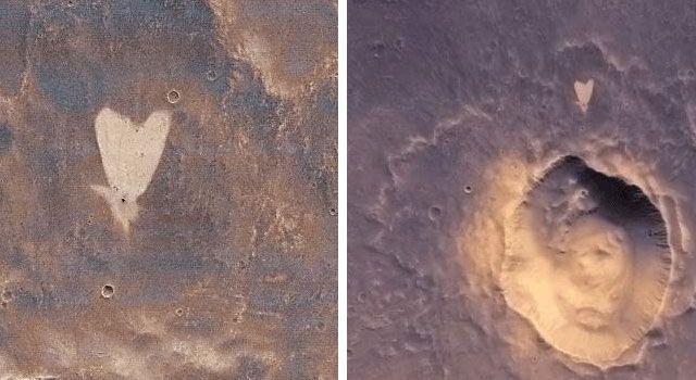 Herzförmige Struktur in Arabia Terra auf dem Mars. (NASA/JPL-Caltech/MSSS)