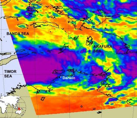 Satellitenbild des Systems 99S. ( NASA/JPL, Ed Olsen)