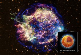 Der Supernova-Überrest Cassiopeia A. (X-ray: NASA/CXC/xx; Optical: NASA/STScI; Illustration: NASA/CXC/M.Weiss)