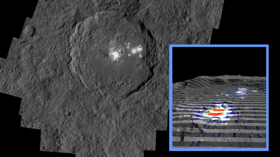 Der Krater Occator. (NASA / JPL-Caltech / UCLA / MPS / DLR / IDA / IAPS / INAF)