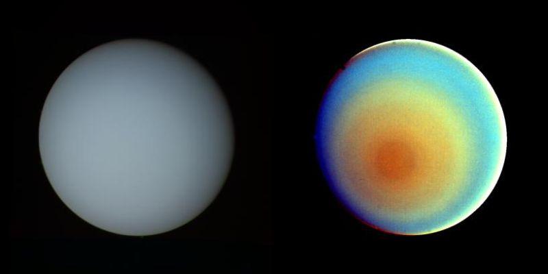 Uranus in natürlichen Farben und Falschfarben (Courtesy of NASA / JPL)