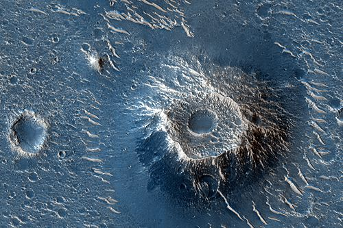 Kegelförmige Hügel in Utopia Planitia (Courtesy of NASA / JPL / Univ. of Arizona)