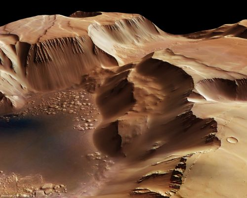 Blick in die Gräben von Noctis Labyrinthus (Courtesy of ESA / DLR / FU Berlin (G.Neukum))