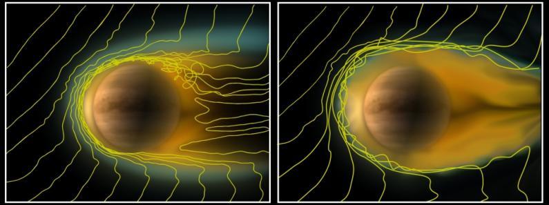 Zwei Stadien der Venus-Ionosphäre: Links bei normal starkem Sonnenwind und rechts bei schwachem Sonnenwind (ESA / Wei et al (2012))