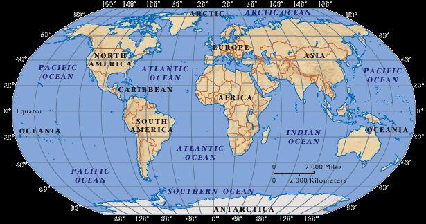 Weltkarte mit den Kontinenten und Ozeanen (Courtesy of NASA)