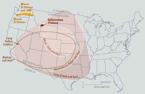 Ascheablagerungen von den letzten drei großen Yellowstone-Eruptionen (Courtesy of USGS)