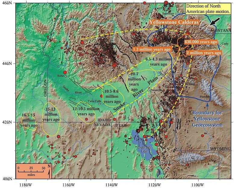 Ausbrüche des Yellowstone Supervulkans - Anklicken zum Vergrößern (Bild:©2000 by Smith & Siegel)