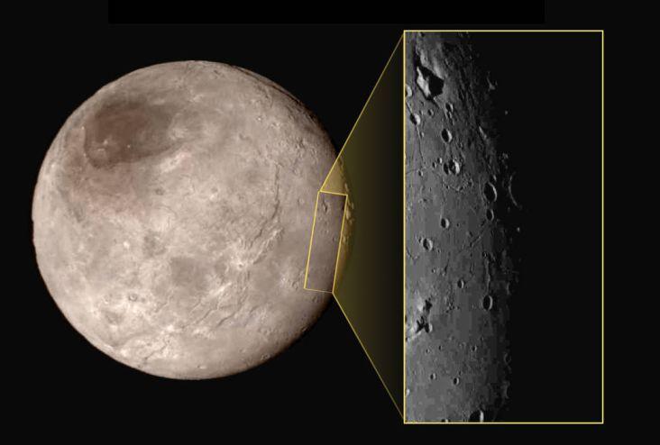 Charon, aufgenommen von der Raumsonde New Horizons. (Courtesy of NASA - JHUAPL - SwRI)