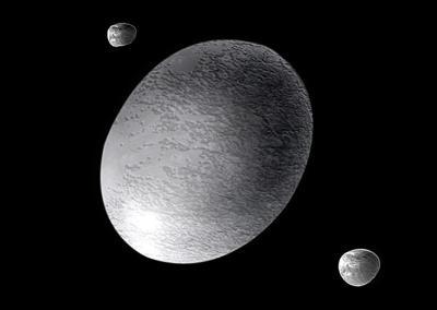 Künstlerische Darstellung des Zwergplaneten Haumea und seiner beiden Monde Hi'iaka und Namaka (NASA)