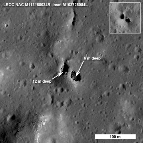 Natürliche Gesteinsbrücke im King-Krater (Courtesy of NASA/Goddard/ASU)