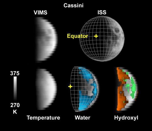 Wasser und Hydroxyl auf dem Mond (Courtesy of NASA / JPL-Caltech / USGS)