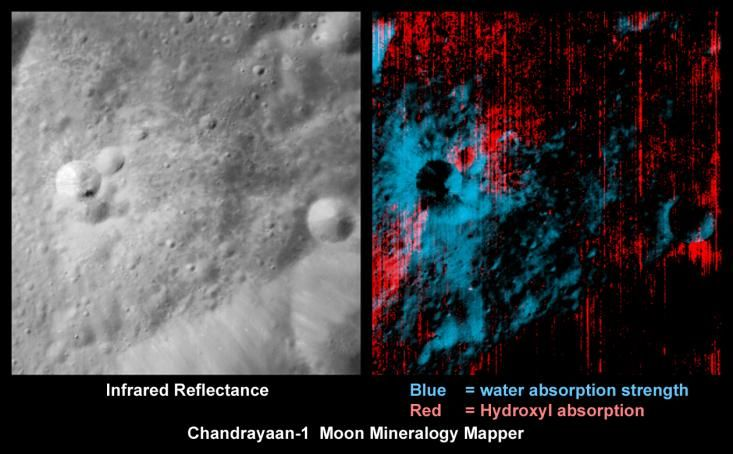 Wasser und Hydroxyl in der Nähe eines jungen Kraters (Courtesy of ISRO / NASA / JPL-Caltech / USGS / Brown Univ.)