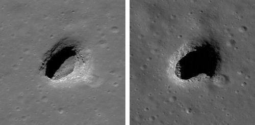 """""""Mare Ingenii Pit"""" (Courtesy of NASA / GSFC / Arizona State University)"""